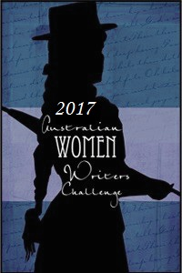 "Black silouhette of a woman in a hat, holding a closed parasol under her arm, with the words ""2017 Australian Women Writers Challenge"" in white over her torso. Blue and purple background."